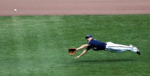 The first sign of Braun juicing was seen on this play in left field vs. the Blue Jays.  Braun was standing on first base when he jumped.